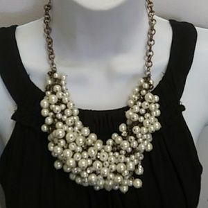J Crew pearl rhinestone bib necklace